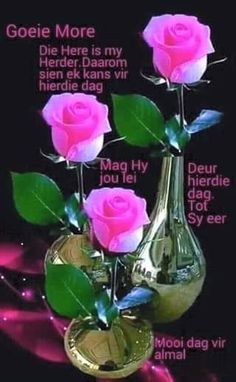 Die Here is my herder. Good Morning Kisses, Good Morning Flowers, Morning Wish, Good Morning Quotes, Afrikaanse Quotes, Goeie Nag, Goeie More, Morning Greetings Quotes, Some Body