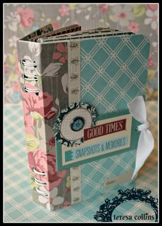 TERESA COLLINS DESIGN TEAM: Mini Book Binding Tutorial by Cheri Piles using the new Now & Then collection