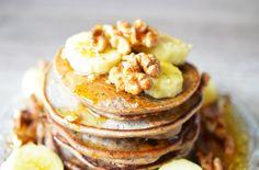 Recette - Pancakes Vegan à la banane | 750g Pancakes Végétaliens, Vegan Pancakes, Crepes, Brunch, Coco, Muffins, Breakfast, Desserts, Lactose