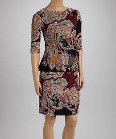Take a look at this Eggplant & Gold Paisley Peplum Dress by Shelby & Palmer on #zulily today!