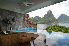 Jade Mountain St Lucia.  Evert room is open on 1 wall witg a private pool or spa