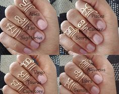 Dainty Zodiac Midi Wire Rings by ZODIS on Etsy
