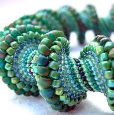 Pattern Only - Spiral Peyote Pattern for My Going Green Cellini Bracelet-will never do but how great!