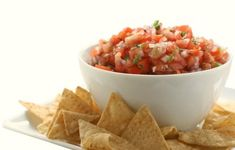 Pico de Gallo Salsa - This fresh and healthy salsa recipe with tomatoes, peppers and onions goes great with chips, grilled fish, chicken and in tacos. It's low in calories and fat. You can adjust the heat and any ingredients to suit your taste. #cincodemayo #vegan #glutenfree 0 points+