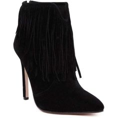 Fringe V-Shape Zipper Ankle Boots (97 PEN) ❤ liked on Polyvore featuring shoes, boots, ankle booties, black booties, black ankle booties, zippered ankle booties, zip ankle boots and fringe ankle booties