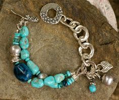 "Spirit Winds Bracelet... Beautiful White Water Turquoise with platinum freshwater pearls and Apatite. Accents of handcrafted sterling silver. Bracelet length.....7.75"" available in 7.0.....and 7.5"""