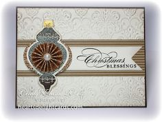 *Posted 7-4-12 Stamps: Ornament Keepsakes, More Merry Messages Cardstock: Champagne Glimmer Paper (avail. 8/1), Very Vanilla, Early Espresso, Soft Suede DSP Ink: VersaMark, Early Espresso Accessories: Big Shot, Holiday Ornaments Framelits (avail. 8/1), Gold and Early Espresso embossing powder (E.E. avail. 8/1), Heat Tool, Lacy Brocade embossing folder (8/1), Large Pearl Basic Jewels, Stampin' Sponges, Stampin' Dimensionals