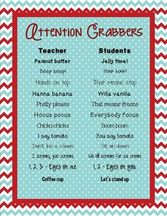 Grabbers FREEBIE I love attention grabbers! I use them and the kids love them too! I can't wait to add these toy collectionI love attention grabbers! I use them and the kids love them too! I can't wait to add these toy collection Preschool Classroom, Future Classroom, Classroom Ideas, Classroom Chants, Ks2 Classroom, Preschool Songs, Classroom Behavior Management, Behaviour Management, Class Management