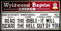 You've seen them - the signs in front of churches, with a witticism or a pun that made you groan. Here is a list of fifteen funny church signs sayings. (funny church sign sayings, funny church signs messages) Church Sign Sayings, Funny Church Signs, Church Humor, Funny Signs, Church Memes, Church Quotes, Christian Humor, Christian Quotes, Christian Messages