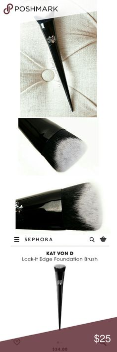 Kat Von D Lock-It Edge Foundation Brush #10 Kat Von D Lock-It Edge Foundation Brush #10  - Brand new and authentic. Comes in plastic packaging - Retails $34 plus tax  Such a beautiful brush! 😉 Kat Von D Makeup Brushes & Tools