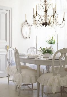 White Dining With Ruffled Chair Covers