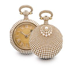 Swiss   A FINE PINK GOLD AND PAVÉ PEARL-SET VERGE OPEN-FACED WATCH CIRCA 1830   • gilt full plate movement, pierced and engraved balance bridge • gilt dial with engine-turned center, pearl-set Roman numerals and hands • case back, bezel, stem and bow with pavé pearls                                                                                                                 A FINE PINK GOLD AND P...