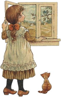 Little girl and kitty look out a window, bird in tree by Sarah Kay (art, children, portrayals) Sarah Key, Holly Hobbie, Mary May, Image Deco, Vintage Drawing, Australian Artists, Cute Images, Illustrations, Cute Illustration