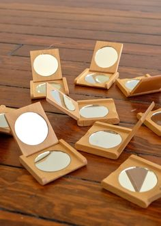 Oiled beechwood with two mirrors magnifying). Made in Germany.