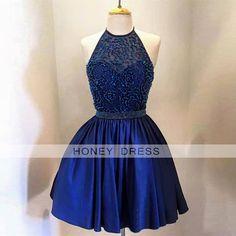 Image of Navy Blue Satin Beaded Illusion V Back Cocktail Dress With Halter Neckline