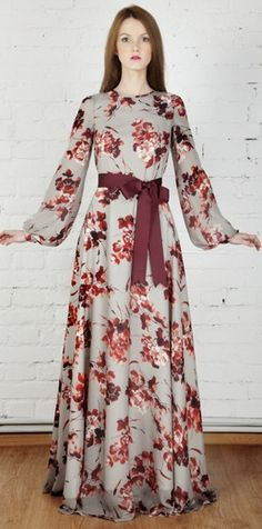 Modest Floral Print Long Sleeve Maxi Dress available at Mode-sty