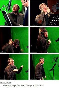 Martin freeman in the studio for The Hobbit