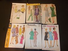 Inventory 72 Vintage Sewing Patterns Lot of 6 by RomanceWriter