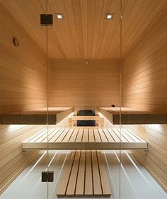 Finnleo® Custom-Cut Floating Bench Interior provides stunning elegance with classic clean and simply Nordic design. The sauna is both beautiful and functional. See why the Floating Bench Interior is a beautiful addition to a sauna. Basement Sauna, Open Basement, Sauna Room, Traditional Saunas, Traditional Windows, Interior Trim, Interior And Exterior, Exterior Solutions, Indoor Sauna