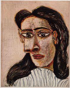 Pablo Picasso, malarz i rzeźbiarz hiszpański (1881-1973). Głowa kobiety III (Portret Dory Maar), 1939, rycina na papierze żeberkowym Montval, 45x34cm. Paryż, Musée Picasso