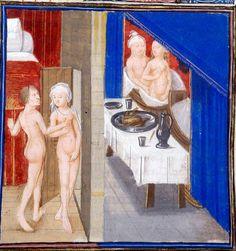 Lust. «Two naked pairs of man and woman illustrating a luxury (sic).» [luxuria]. Facta et Dicta Memorabilia (Le livre de Valerius Maximus), c. 3rd quarter of the 15th century, Royal 17 F IV, f. 297, The British Library.