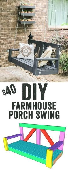 LOVE this DIY Porch Swing! It only uses 8 boards to build... That's under $30 for lumber! Love the farmhouse style of it too! Free plans to build it are at www.shanty-2-chic...