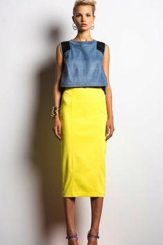 Veronica Beard Yellow Pencil Skirt on shopstyle.com