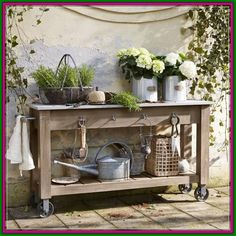 Vintage style furniture Home accessories in shabby chic Outdoor Plant Table, Outdoor Plants, Outdoor Gardens, Garden Table, Potting Tables, Balcony Plants, Balcony Garden, Backyard Garden Design, Stone Slab