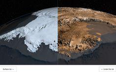 Antarctic landmass revealed.
