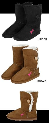 Pink Ribbon Microfiber Sherpa Lined Button Boots at The Breast Cancer Site