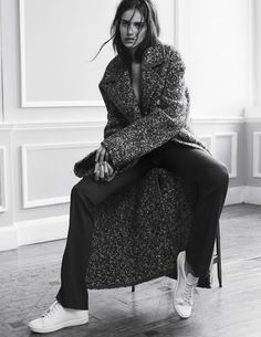 Amanda Wellsh by Benny Horne -- textured coat, black trousers & sneakers #style #fashion #editorial