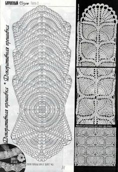 Irish lace, crochet, crochet patterns, clothing and decorations for the house, crocheted. Crochet Borders, Crochet Stitches Patterns, Crochet Chart, Thread Crochet, Filet Crochet, Crochet Motif, Crochet Designs, Crochet Table Runner Pattern, Crochet Tablecloth