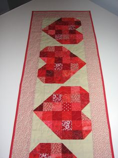 Quilted Table RunnerReversible Red Patchwork by VillageQuilts, $45.00