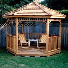 Colorful Chairs with Coffe Table in  Hexagon Gazebo Plans