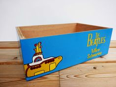 Storage Box The Beatles_Yellow Submarine. Unique, handcrafted and handpainted wooden box. Gift for music lovers. Toy Boxes, Storage Boxes, Storage Chest, Gift For Music Lover, Music Lovers, Yellow Submarine, Table Lamps, Wooden Boxes, The Beatles