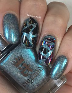 ehmkay nails: A England Captive Goddess with Born Pretty Holographic Paper