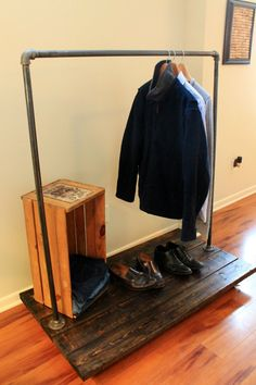 Plumbers Pipe and Pine Clothing Rack with Industrial by SteelandPine, $199.00