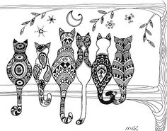 Pop Art Zentangle Cats Lovers Moon  by Marcia  Connell-Smith