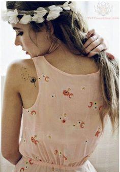 Tiny Dandelion Tattoo On Back Shoulder