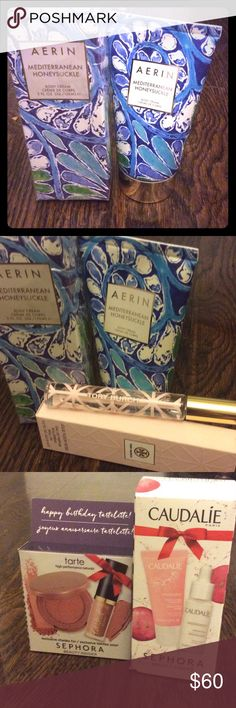 Aerin, Estée Lauder, Tory burch roller ball Aerin body lotion in Mediterranean honeysuckle, nwt, Tory burch Jolie fleur rose roller ball nib, bunch of samples, caudalie serum, vinosource cream, tarte lipgloss creamy matte lip in birthday cake, and a bunch of perfume samples from Chanel, Alexander McQueen, Tom ford, Marc jacobs Estee Lauder Makeup