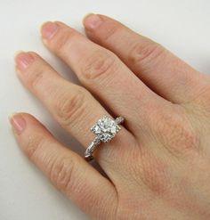 1.81ct Diamond 1920s Platinum Vintage Engagement Ring. $9,999.99, via Etsy.
