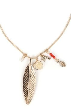 Deb Shops Short Necklace with Metal Feather and Small Charms $6.00