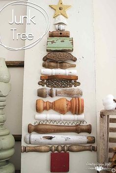 You will be glad you pinned this tree. My version of Mr. Brown's Christmas tree. A vintage shabby junk farmhouse style tree made with broken spindles and junk. | Country Design Style | countrydesignstyle.com