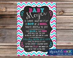 Printable Invite- Chalkboard with Chevron-baby shower, chevron, chalkboard, star light, gender reveal, boy or girl, girl, boy
