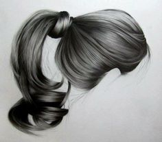Fantasting Drawing Hairstyles For Characters Ideas. Amazing Drawing Hairstyles For Characters Ideas. Portrait Au Crayon, Pencil Portrait, Realistic Hair Drawing, Drawing Hair, Ponytail Drawing, Drawing Sketches, Art Drawings, Drawing Portraits, Figure Drawings