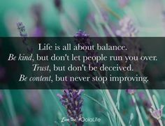 Life is all about #balance.