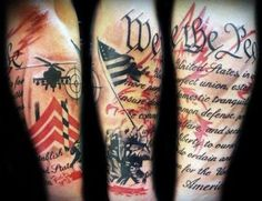 This sleeve mixes images from the military, the Iwo Jima memorial, and the Constitution. #InkedMagazine #tattoos #patriotic #America #American #patriot #tattoo