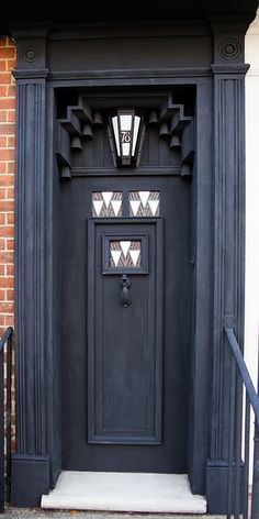 Art Deco Door, 78 Dermgate, Northampton, England. Interior design by Charles Rennie Mackingtosh. House owned by the Bassett Lowke family. Great model makers of world renown.