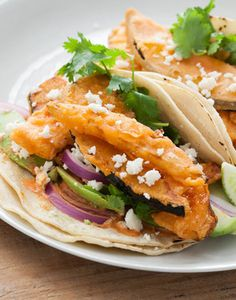In these hearty vegetarian tacos, we dipped each squash wedge into a smoked paprika and rice flour batter before lightly tempura frying. Topped with a creamy smoked paprika and lime sauce, we hope you'll enjoy the juxtaposition of the crunchy, crisp tempura coating with the cool avocado and queso fresco! A delicious summer recipe.  Use vegan mayo.