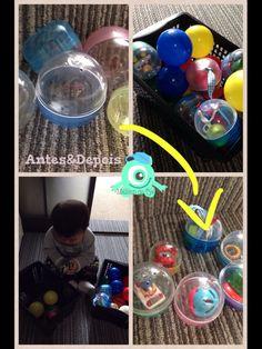 As bolinhas do gatya gatya ke ia para o lixo vira um ótimo brinquedo para os baixinhos :)
